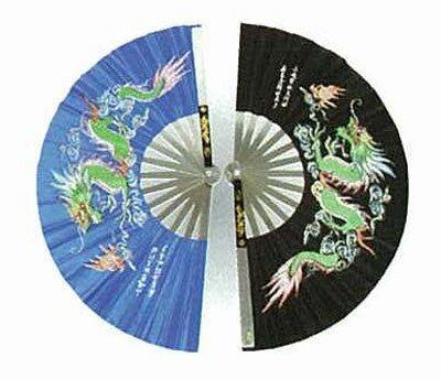 Blue Kung Fu Fan - Dragon design