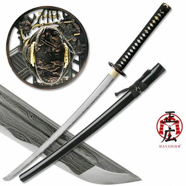 Masahiro Damascus Sword Samurai Battle Tsuba