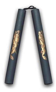 Nunchaku 12'' Cord Rubber w/dragon