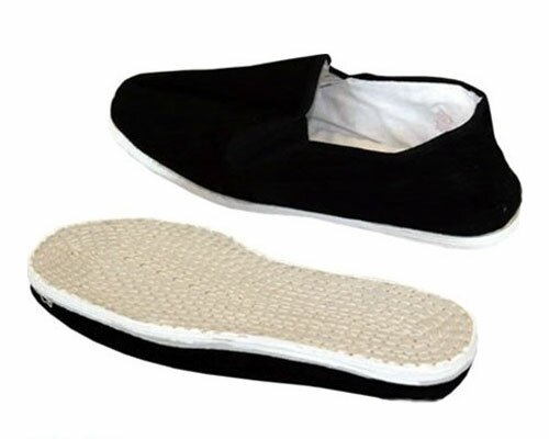 Qi Gong Slippers Black, Cotton Sole